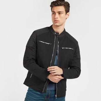 Biker Jacket with Long Sleeves and Zip Pockets