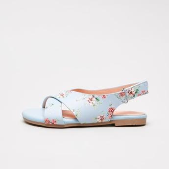 Floral Printed Slingback Sandals with Hook and Loop Closure