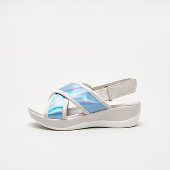 Colourblock Slingback Platform Sandals with Hook and Loop Closure