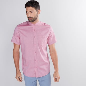 Short Sleeves Shirt with Mandarin Collar and Complete Placket