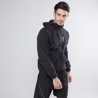 Solid Hoodie with Pocket Detail and Long Sleeves