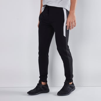 Full Length Plain Jog Pants with Tape Detail and Drawstring