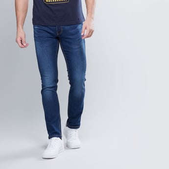 Slim Fit Full Length Jeans with Pocket Detail and Belt Loops