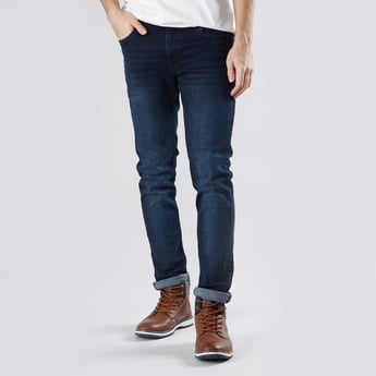 Full Length Plain Skinny Jeans with Pockets