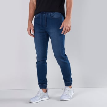 Slim Fit Plain Joggers with 5-Pockets and Drawstring Closure