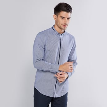 Chequered Shirt with Slim Collar and Long Sleeves