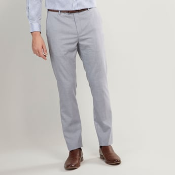 Slim Fit Full Length Plain Trousers with Pocket Detail and Belt Loops