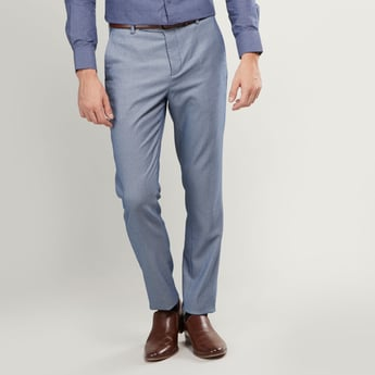 Slim Fit Textured Trousers with Pockets and Button Closure