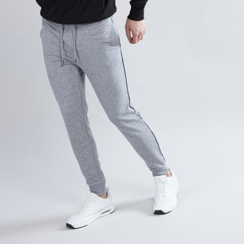 Textured Contrast Tipping Cuffed Joggers with Drawstring Closure
