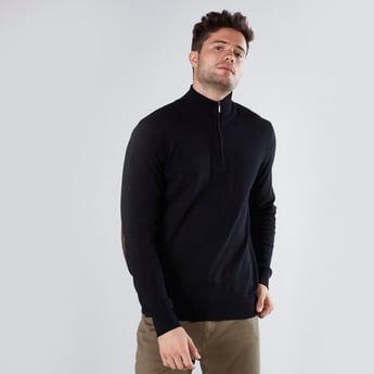 Patch Detail Sweater with High Neck and Long Sleeves