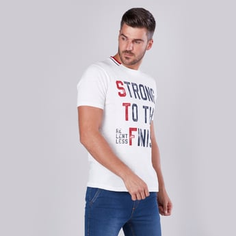Typographic Printed T-shirt with Round Neck and Short Sleeves