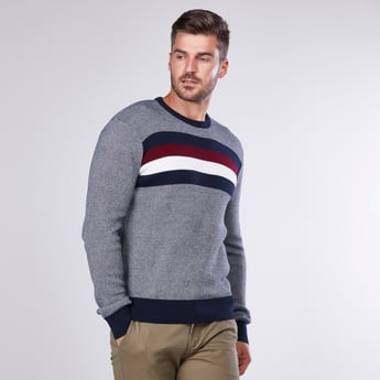Textured Pannel Sweater with Round Neck and Long Sleeves