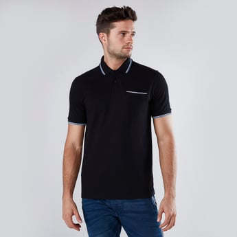 Heathered Cotton Polo T-shirt with Short Sleeves