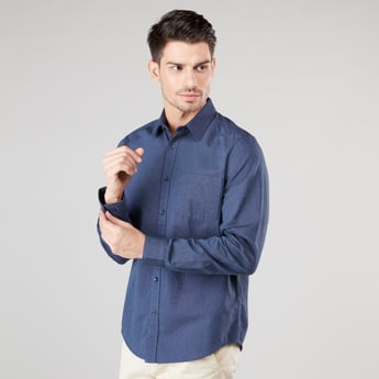 Plain Shirt with Long Sleeves and Spread Collar