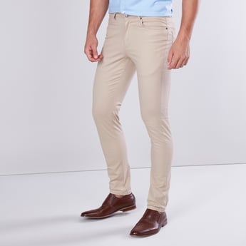 Full Length Plain Chino Pants with 5 Pockets