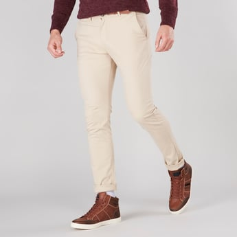 Solid Trousers with Pockets and Button Closure