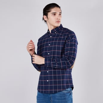 Checked Collared Shirt with Long Sleeves and Contrast Elbow Patches