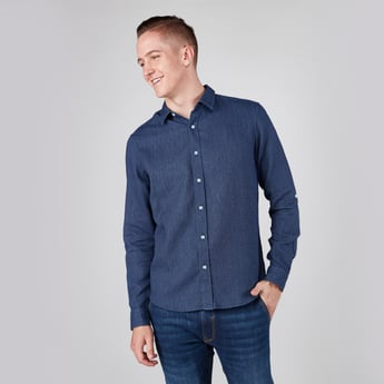 Textured Shirt with Collar and Long Sleeves