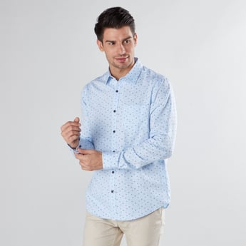 Printed Shirt with Long Sleeves and Chest Pocket Detail