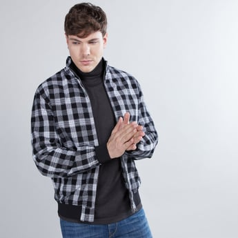 Checked Bomber Jacket with Long Sleeves and Zip Closure