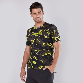Slim Fit Camouflage Printed T-shirt with Short Sleeves