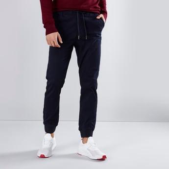 Slim Fit Plain Jog Pants with Pocket Detail and Drawstring