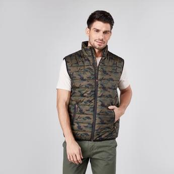 Camo Print Sleeveless Zip Front Puffer Jacket