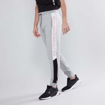 Slim Fit Full Length Printed Mid Waist Jog Pants with Pocket Detail
