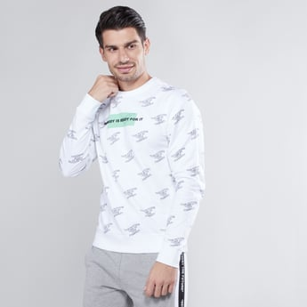 Sim Fit Printed Sweatshirt with Round Neck and Long Sleeves