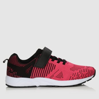Textured Lace-Up Shoes with Hook and Loop Closure