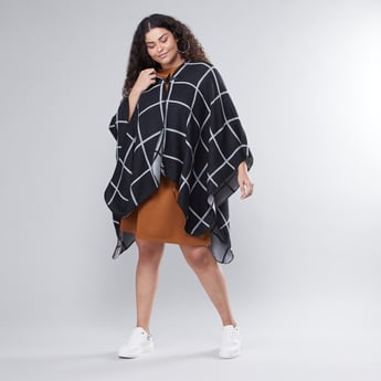 Chequered Shrug with Full Sleeves and Asymmetric Hem