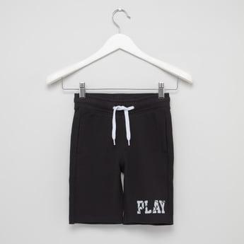 Printed Shorts with Drawstring and Pocket Detail