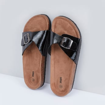 Textured Slip-On Sandals with Pin Buckle Vamp Band