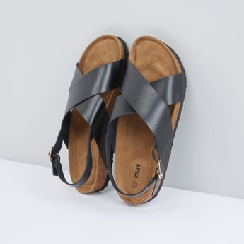 Cross Strap Sandals with Pin Buckle Closure