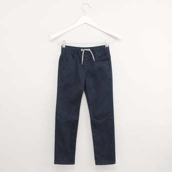Full Length Solid Pants with Pocket Detail and Drawstring