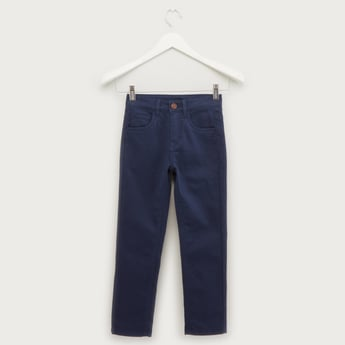 Solid Jeans with Belt Loops and Pocket Detail