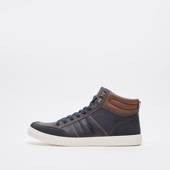 حذاء طويل سادة سهل الارتداء بتفاصيل دانتيل