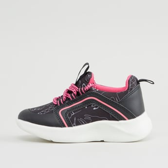 Printed Sports Shoes with Lace-Up Closure