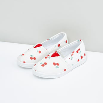 Printed Slip-On Shoes with Elasticised Gussets