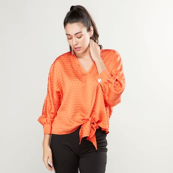 Textured Top with V-neck and Tie Ups