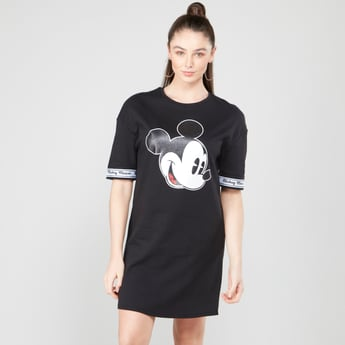 Mickey Mouse Graphic Printed Midi Shift Dress with Short Sleeves
