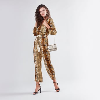 Animal Print Jumpsuit with Long Sleeves and Tie Up