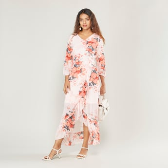 Floral Print Maxi Dress with 3/4 Sleeves and Asymmetric Hem