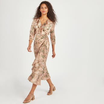 Printed A-line Midi Wrap Dress with 3/4 Sleeves and Ruffle Detail