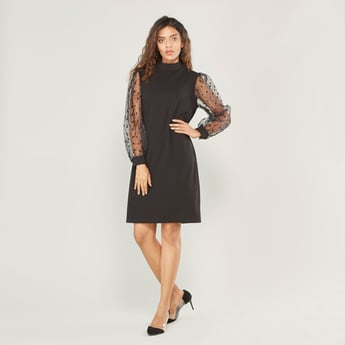 Solid Midi Shift Dress with High Neck and Long Sleeves
