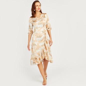 Printed Midi Dress with 3/4 Sleeves and Asymmetric Hem