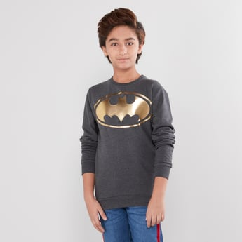 Batman Printed Round Neck Sweatshirt with Long Sleeves