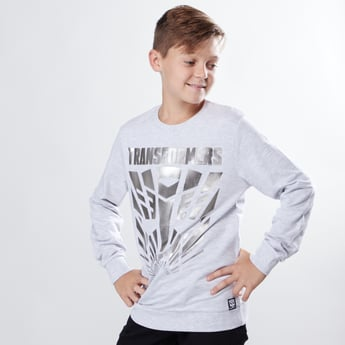 Transformers Foil Printed Sweatshirt with Round Neck and Long Sleeves