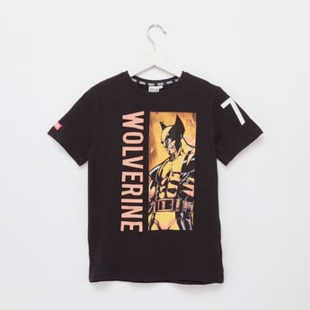 Wolverine Print T-shirt with Round Neck and Short Sleeves