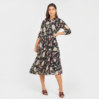 Floral Print Midi A-line Dress with Long Sleeves